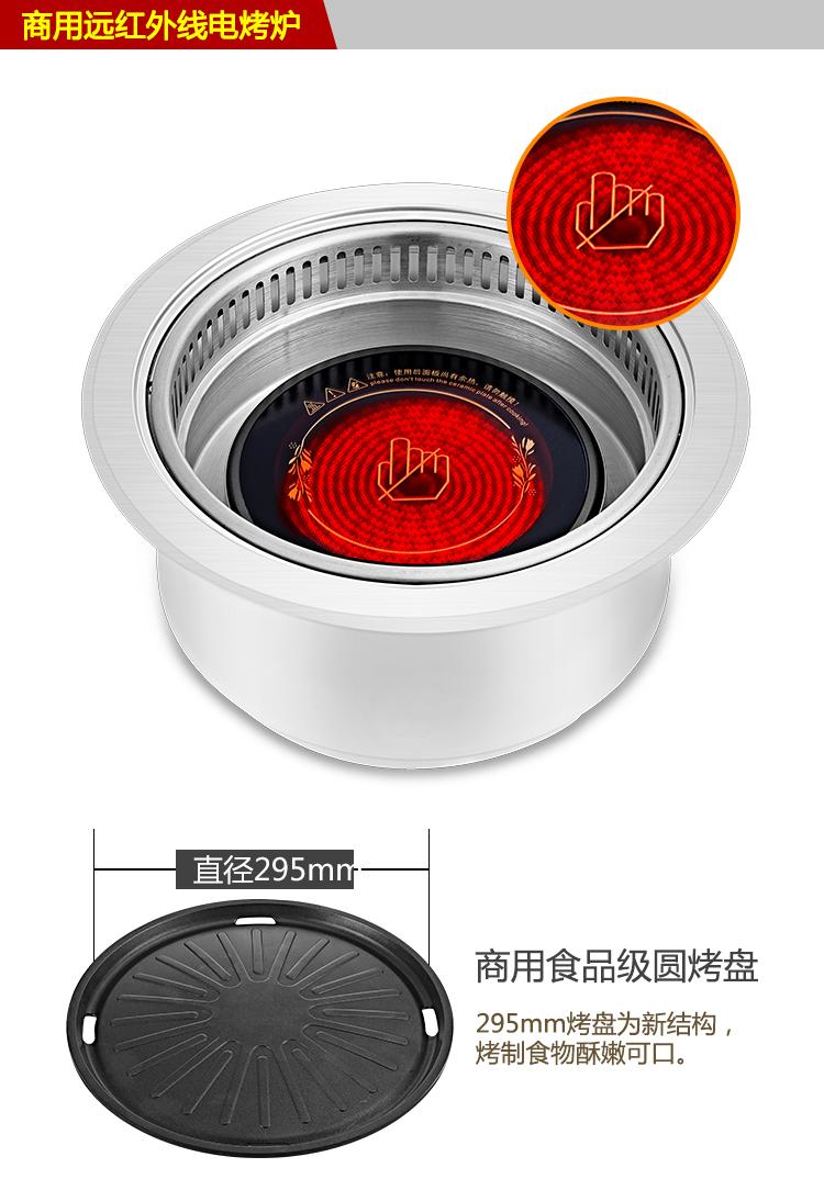 电烤炉韩式 嵌入式商用无烟烧烤炉 自助餐圆形韩国烤肉锅下排式示例图6