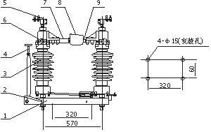 四川35KV户外柱上高压隔离开关GW4-40.5示例图3