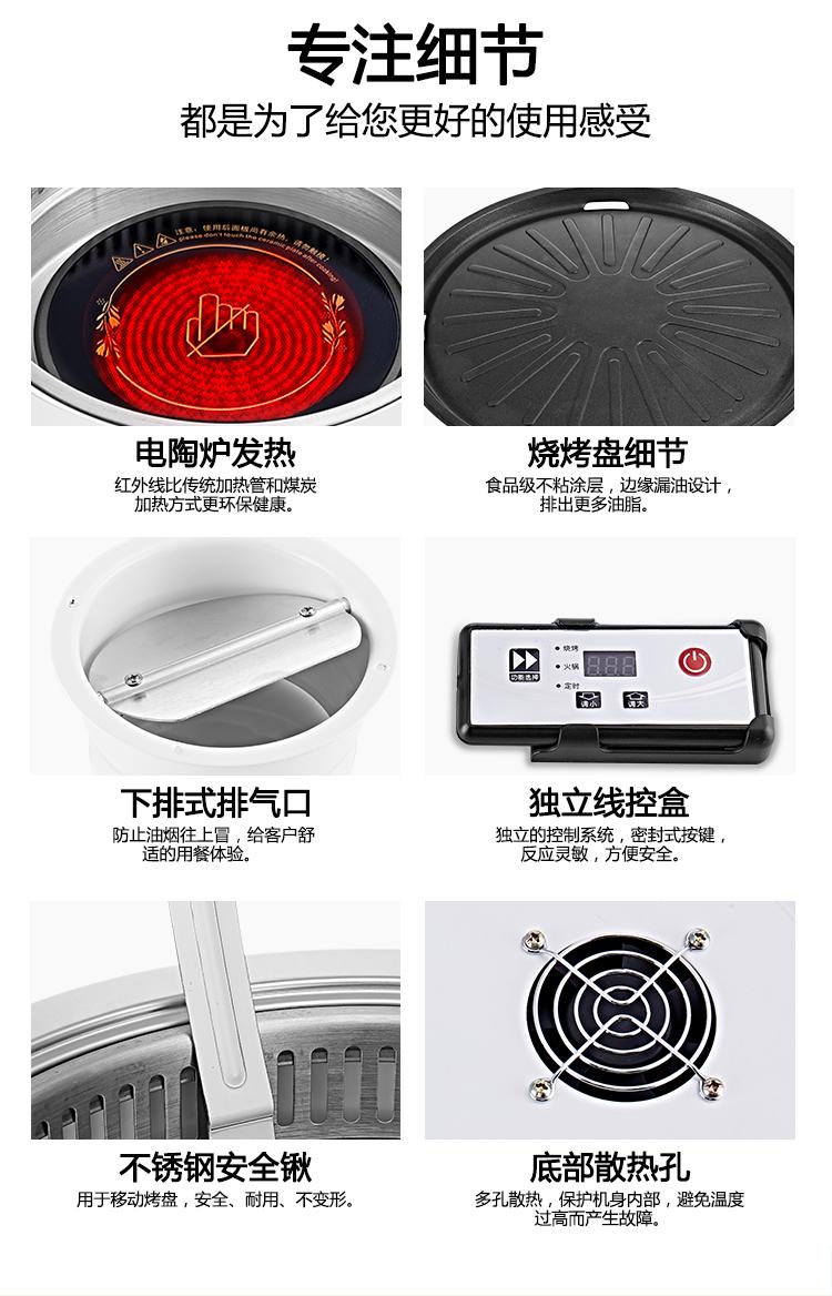 电烤炉韩式 嵌入式商用无烟烧烤炉 自助餐圆形韩国烤肉锅下排式示例图8