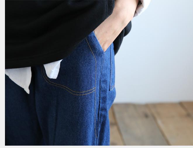 新款江南布衣风格复古怀旧百搭休闲大口袋阔腿裤牛仔裤女1631示例图7