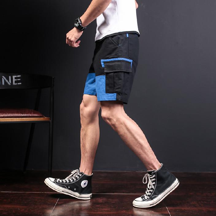 工厂货源 外贸*爆款潮男撞色拼接个性 休闲运动工装裤子短裤图片