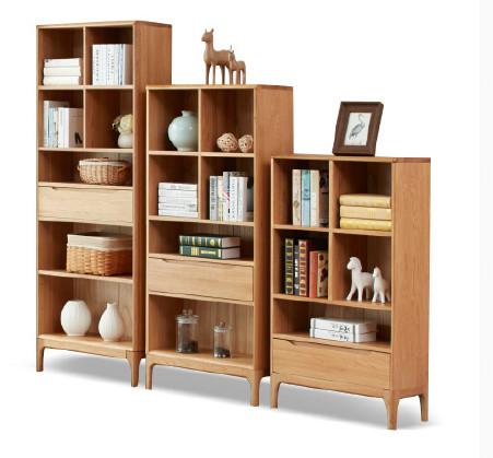纯实木书架 白橡木书房家具全实木展示架书柜陈列架