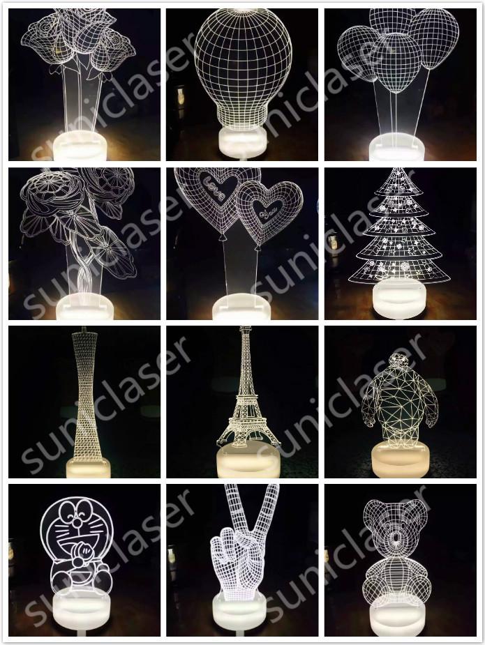 3D小夜灯激光雕刻机,激光雕刻切割亚克力小夜灯图案,立体小夜灯示例图2