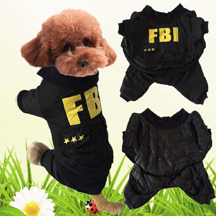 欧美宠物衣服 冬装狗衣服 FBI棉衣 宠物棉服 中小型犬猫咪服饰图片