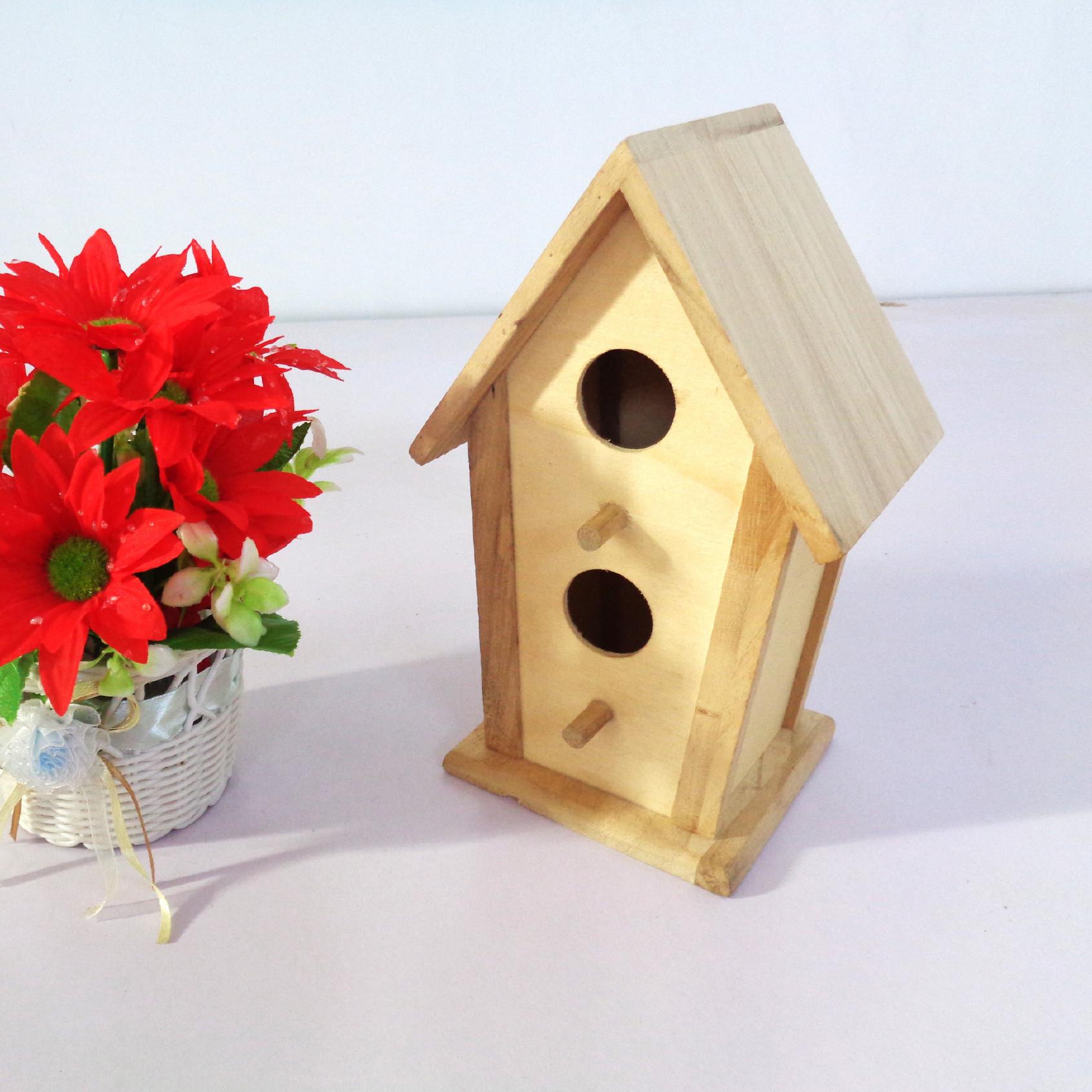 松木材质可选花园阳台装饰手工工艺鸟房 木质鸟窝厂家批发
