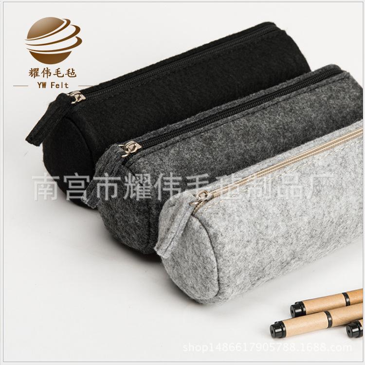 文具批发 创意学生礼品毛毡笔袋 创意小文具圆筒便携毛毡笔袋