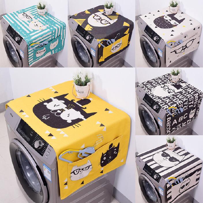 冰箱盖布滚筒洗衣机罩 数码印花加厚棉麻卡通布艺防尘罩来图定制