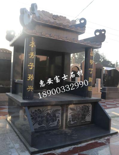 富士石材墓碑厂家供应FS-091芝麻黑墓碑石材,双层瓦盖型豪华传统墓碑示例图7