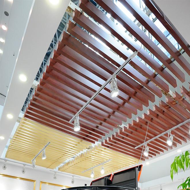 萬達木紋吊頂裝飾鋁方通定制   弧形鋁方通規格示例圖2