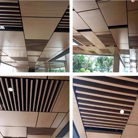 萬達木紋吊頂裝飾鋁方通定制   弧形鋁方通規格示例圖6