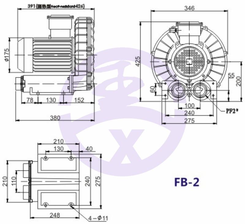 直銷旋渦防爆高壓風機 RB環形高壓鼓風機  耐高溫高壓風機 旋渦防爆風機示例圖7