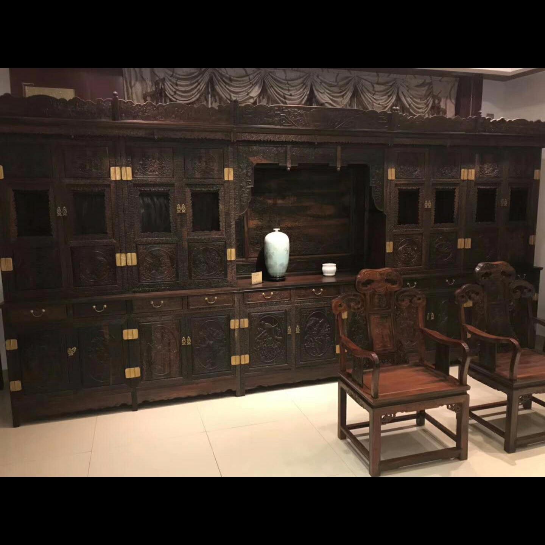 红木家具、古典家具、大红酸枝组合书柜