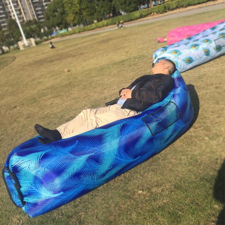 亞馬遜爆款 戶外印花藍葉懶人充氣沙發 空氣睡袋沙灘睡床廠家供貨
