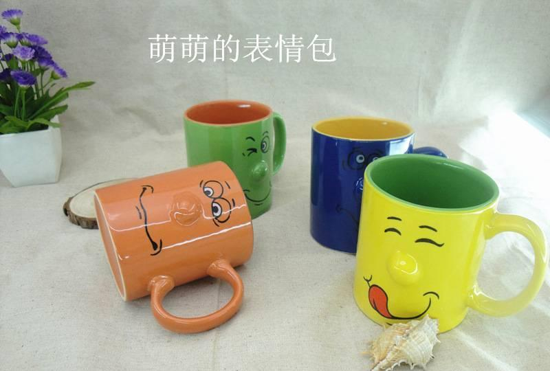 【12oz浮雕卡通笑脸图片表情马克杯陶瓷檄emoji鼻子鼓掌表情包图片