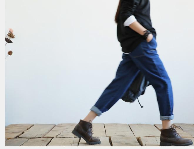新款江南布衣风格复古怀旧百搭休闲大口袋阔腿裤牛仔裤女1631示例图8