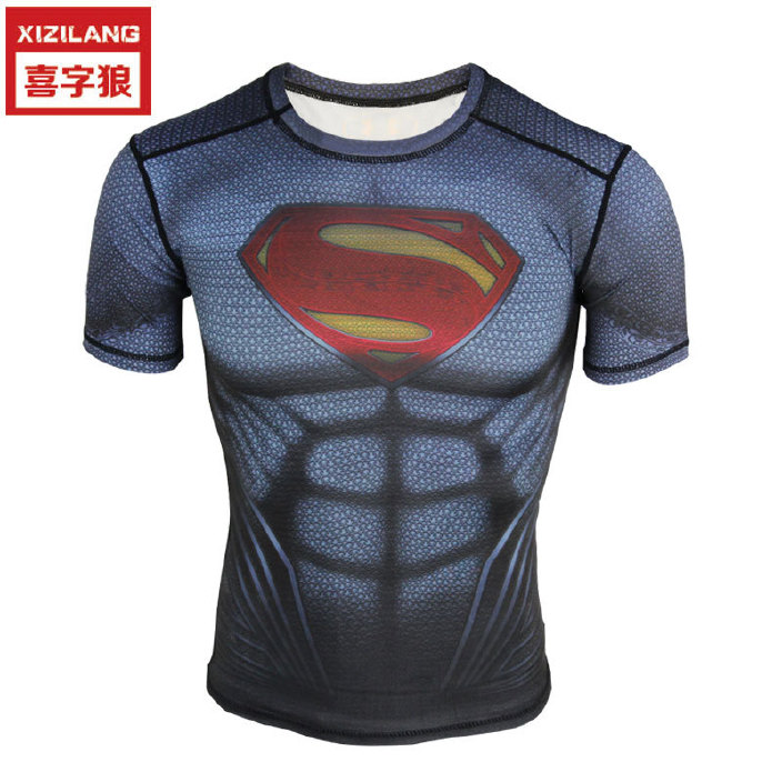 新款健身衣PRO男士运动紧身衣超人篮球跑步?#30423;?#36895;干T恤运动压缩衣