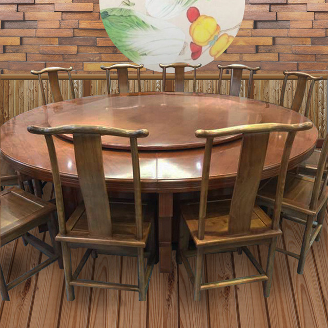 中今家具廠家直銷 可批發定制酒店飯店中式古典簡約實木轉盤餐桌椅