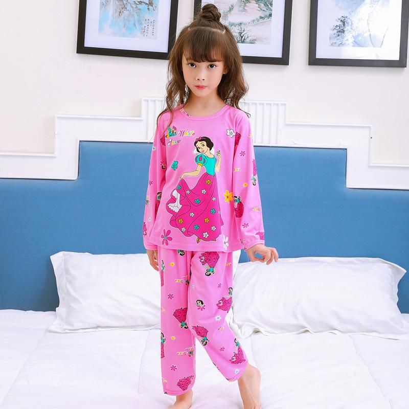 儿童睡衣棉绸家居服男童女童装卡通可爱秋天宝宝新款小孩套装长袖