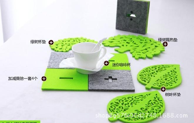 供应毛毡杯垫彩色隔热垫 吸水防滑餐垫镂空杯垫 颜色图案可定制示例图7