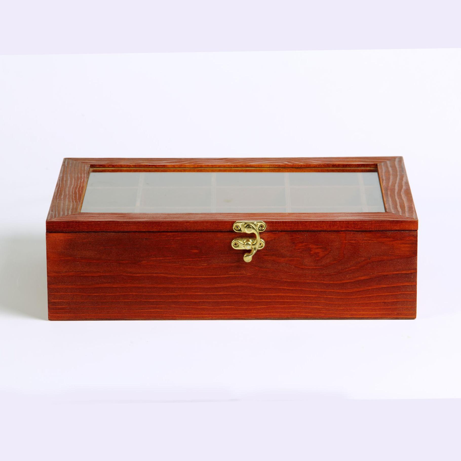 zakka杂货做旧多格收纳盒 玻璃盖怀旧首饰盒