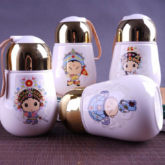 创意卡通实用 情侣对杯陶瓷带盖手提绳随手杯子 小赠品礼品杯定制图片