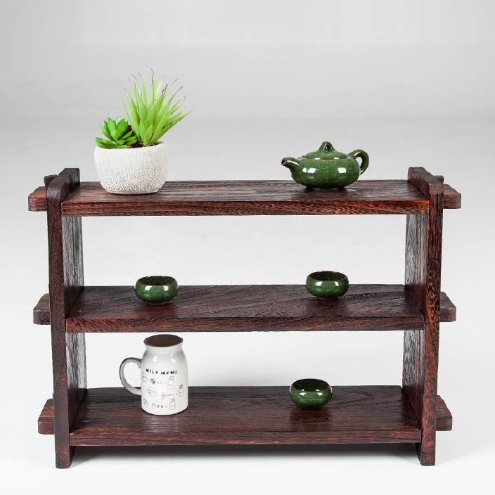 日式实木茶棚博古架小茶壶架收纳架储物架多肉植物架多宝架图片