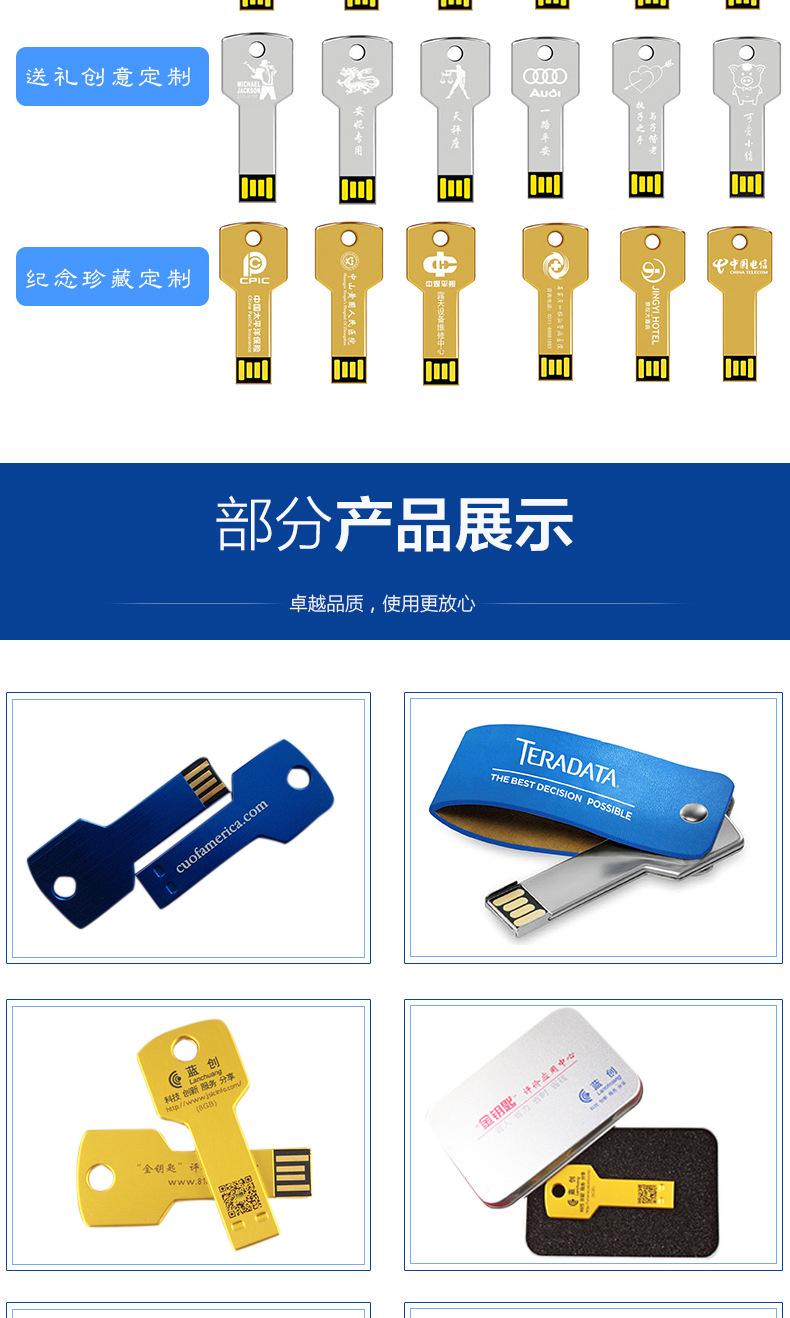 數碼電子連體鑰匙U盤廣告創意u盤定制會議禮品金屬U盤投標4gbu盤示例圖9