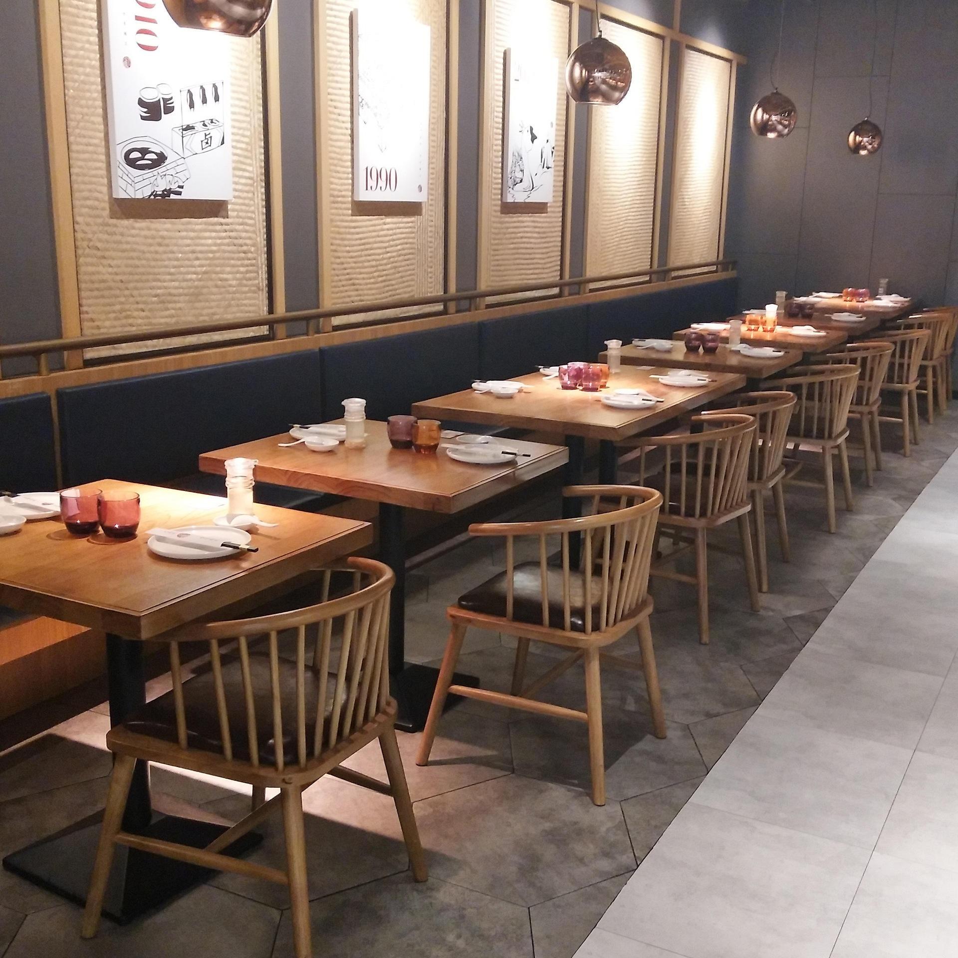 實木餐飲店餐桌,川菜館湘菜火鍋店新中式餐廳餐桌椅組合,餐椅子餐桌椅組合-海德利家具
