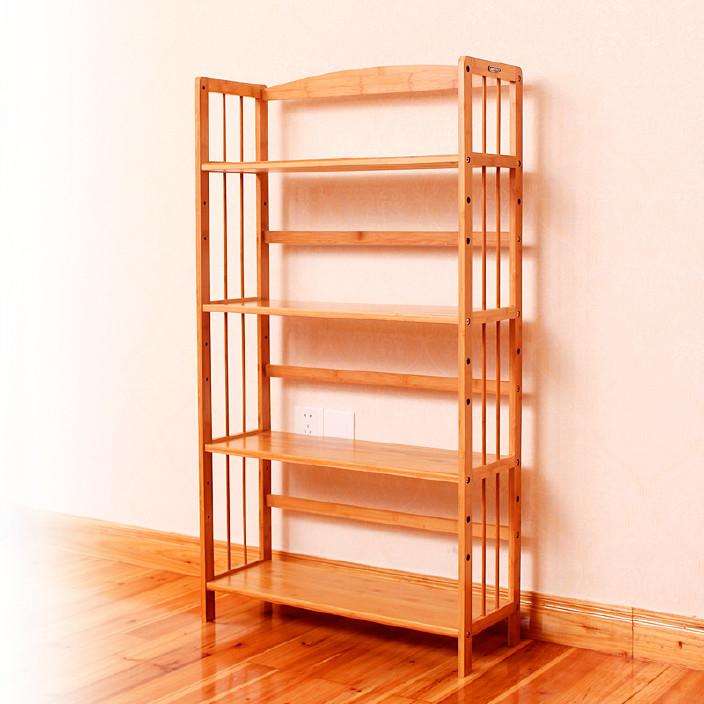 厂家批发 创意书柜简易书架 家用书架 大容量实木书架竹子置物架