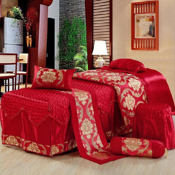 高档 美容床罩四件套七件套 大红色按摩床罩熏蒸床 通用款可订做示例图3