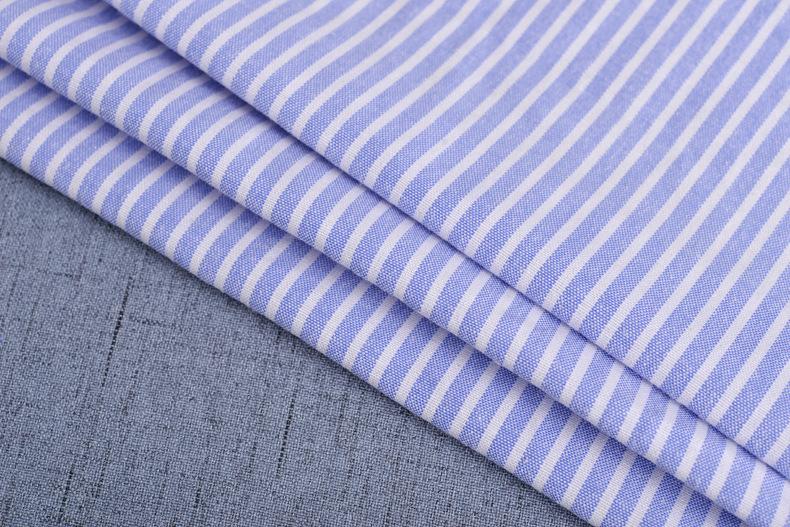 廠家直銷加厚牛津紡條子色織襯衫滌棉布料條紋布連衣裙職業裝面料示例圖7