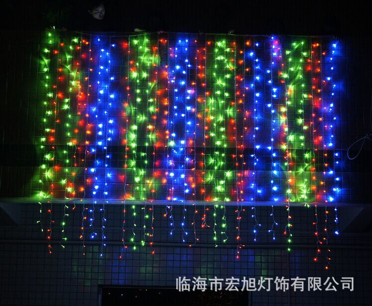 主播房间装饰 圣诞节日网红 LED窗帘灯3*3米304灯 冰条婚庆装饰灯示例图21