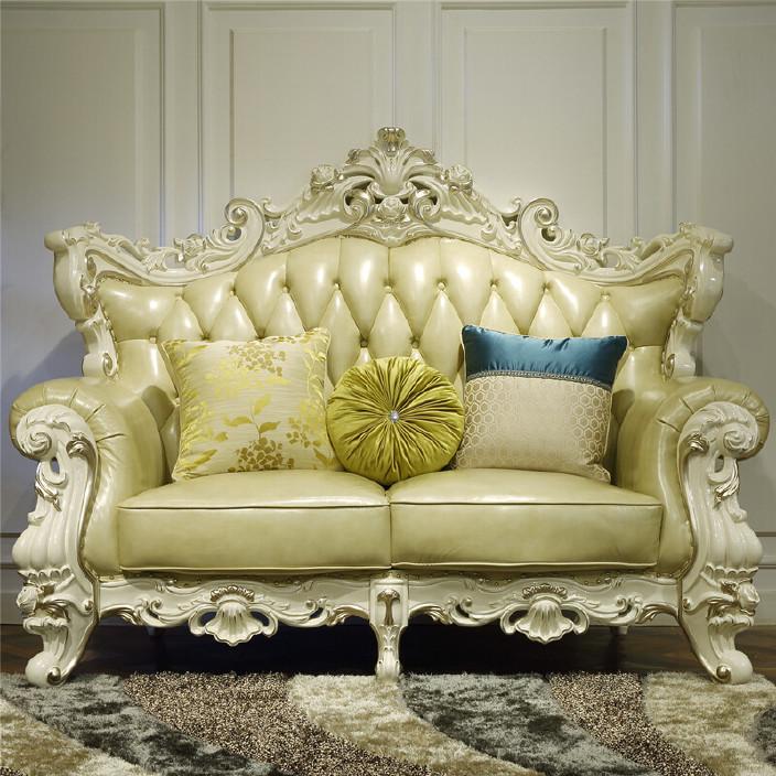 欧式真皮沙发123组合实木双面雕花头层牛皮豪华别墅客厅沙发s038