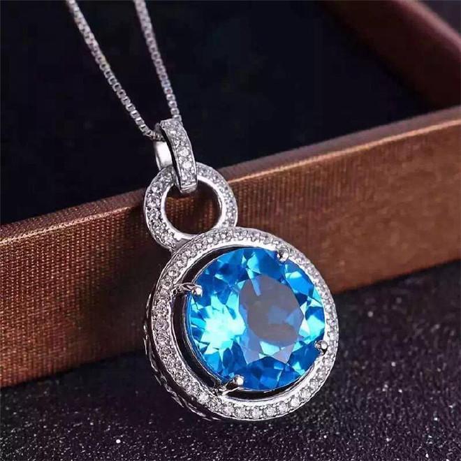 天然水晶吊坠批发 天然蓝水晶托帕石吊坠批发 蓝宝石 925银镶钻