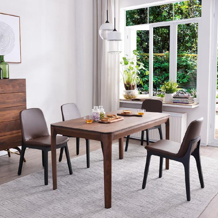 实木餐桌北欧胡桃木白橡木餐桌原木长方形6人