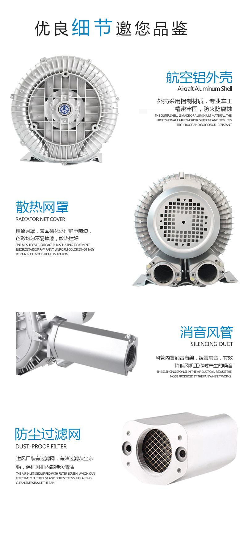 真空吸附高压风机 高负压旋涡气泵 漩涡风机示例图8