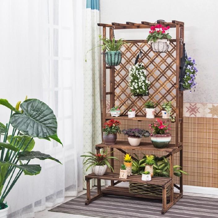 防腐木室外阳台花架实木落地式多层花架子木质碳化悬挂户外植物架图片