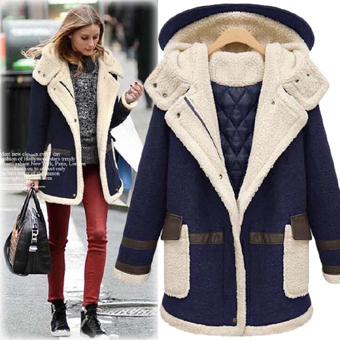 欧美大码女装2016冬季新款加厚羊羔毛棉衣外套中长款宽松显瘦棉服图片