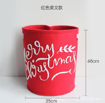 创意卡通不织布收纳桶毛毡玩具杂物收纳筐圣诞节礼物桶 可定制示例图2