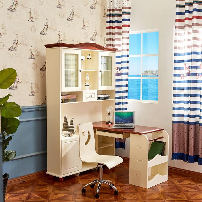 2803美式乡村实木电脑桌台式家用书桌书架组合地中海写字台学习桌
