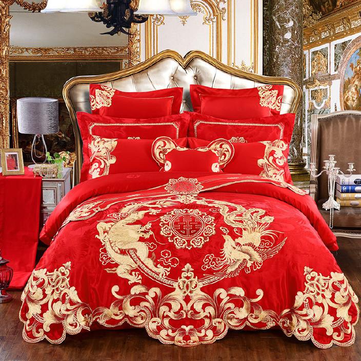 60支貢緞繡花婚慶四件套大紅結婚床上用品十件套純棉被套件刺繡圖片