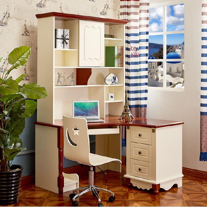 2806地中海书桌书架书柜组合美式直角转角电脑桌直角儿童书桌家用