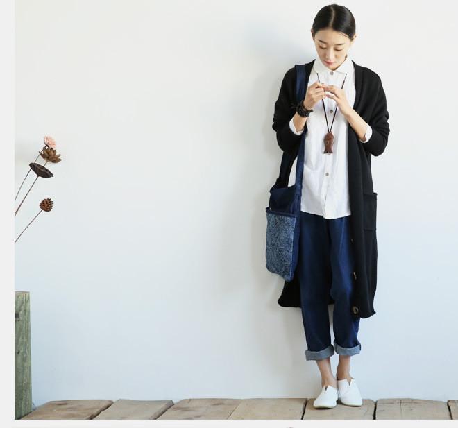 新款江南布衣风格复古怀旧百搭休闲大口袋阔腿裤牛仔裤女1631示例图14