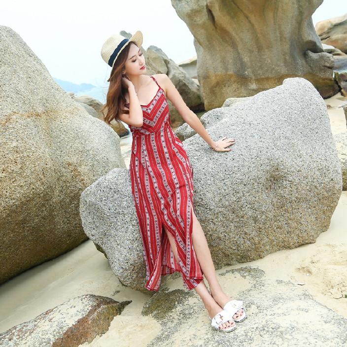 长裙海滩旅游度假连衣沙滩露背系带性感裙波西周于希性感女神图片