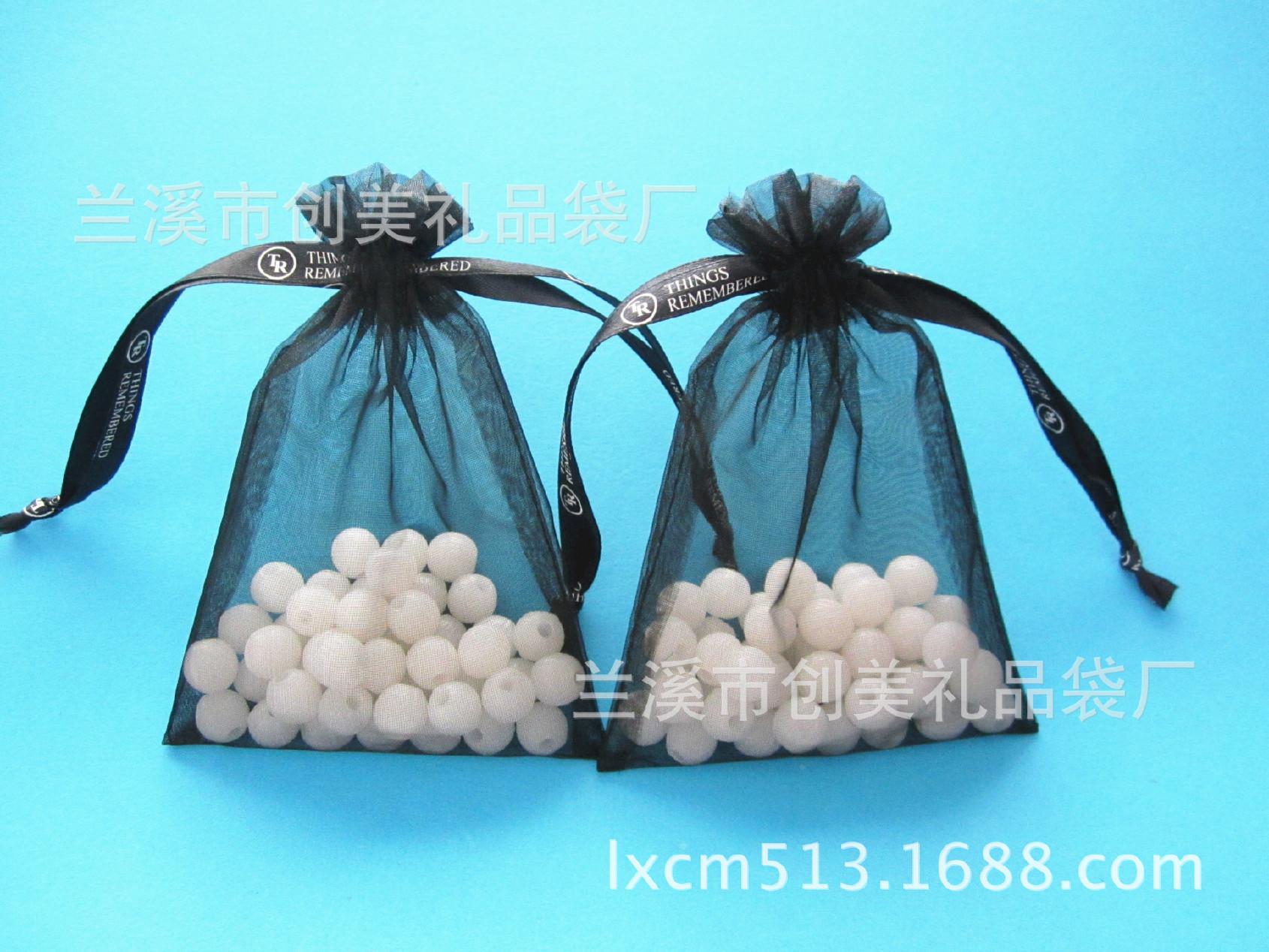 厂家供应网纱欧根纱束口礼品袋 抽绳纱布珍珠纱礼品袋 可印刷logo图片