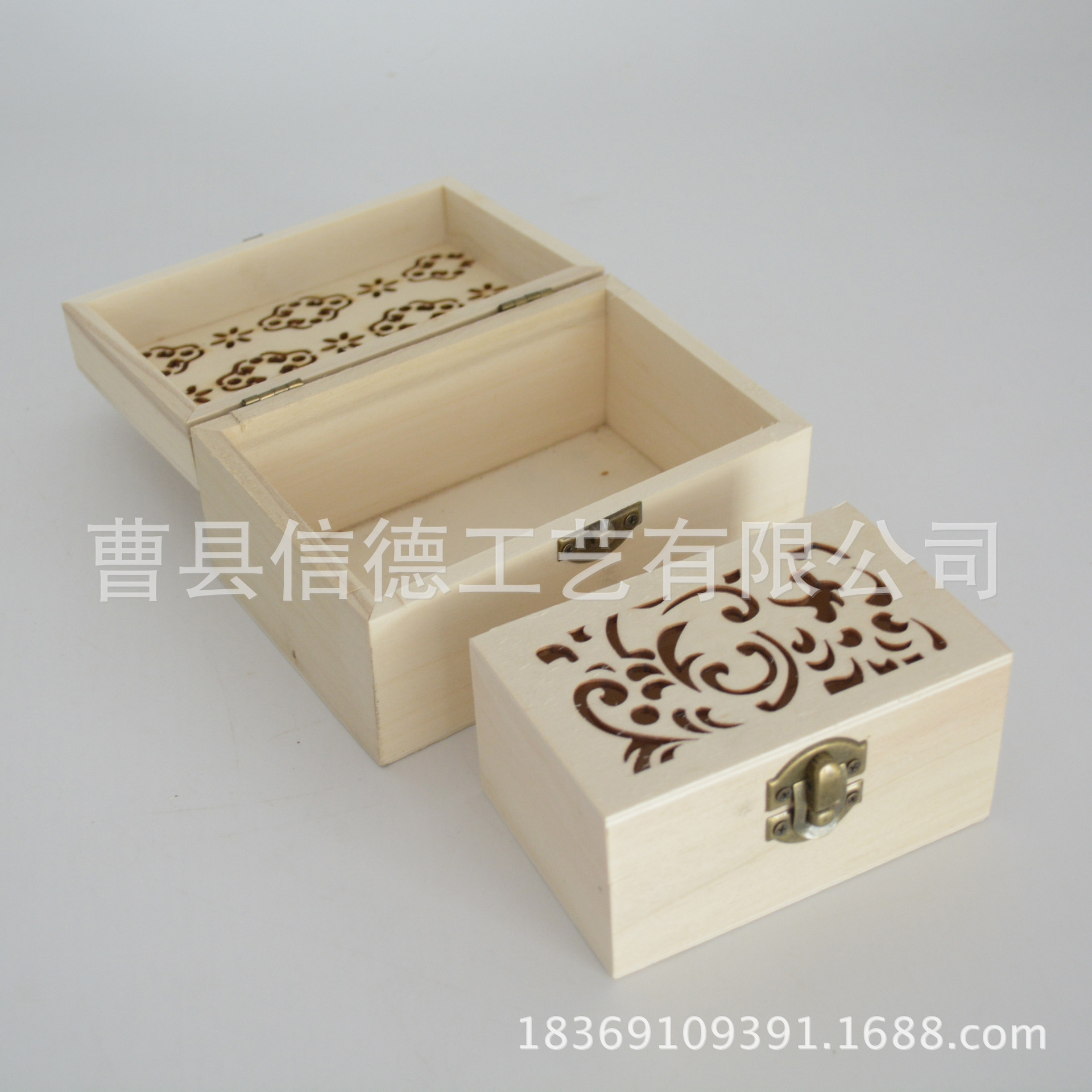 厂家直销镂空小花窗饰品木盒 高档木制首饰盒 挂件吊坠收纳盒批发