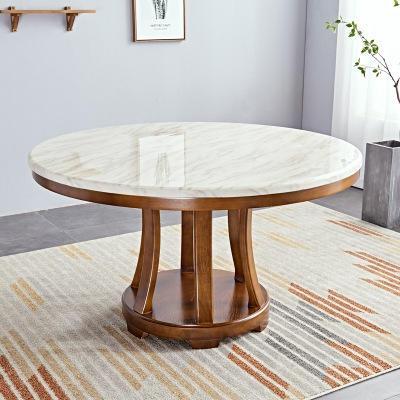 大理石餐桌椅组合 实木大理石餐桌 餐厅 家用 餐桌椅 带转盘餐桌椅6-8人,海德利家具