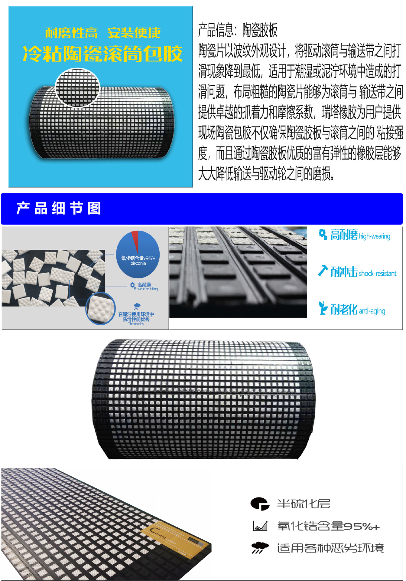 港口陶瓷胶板  山东现场陶瓷包胶厂家示例图2