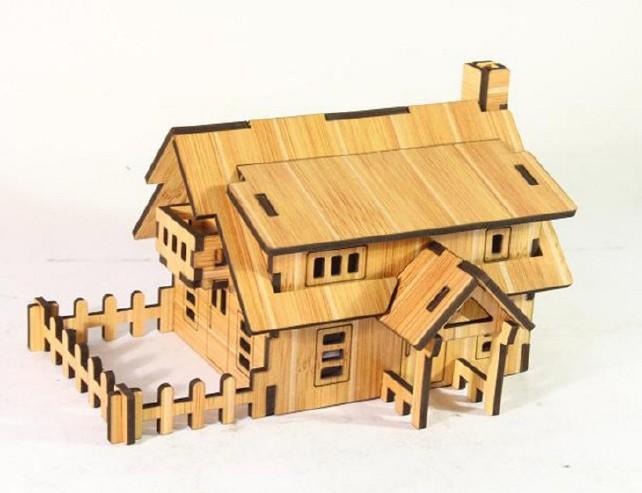 森呼吸西式小屋批发激光切割3D精品智慧拼装模型精致DIY益智玩具示例图5