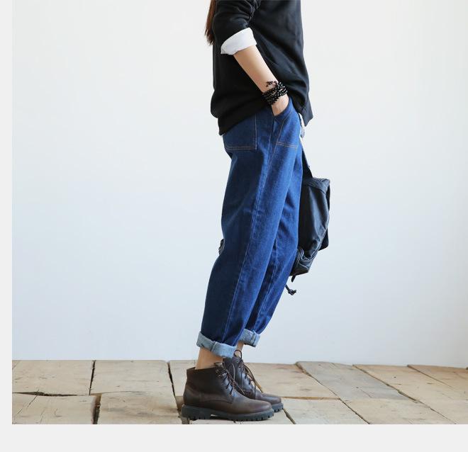 新款江南布衣风格复古怀旧百搭休闲大口袋阔腿裤牛仔裤女1631示例图9